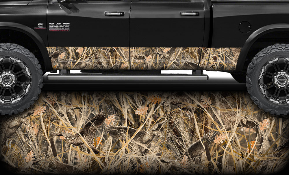 Camo Grassland Rocker Panel Graphic Decal Wrap Kit for Truck SUV 12 inch x 24 Foot, Gloss