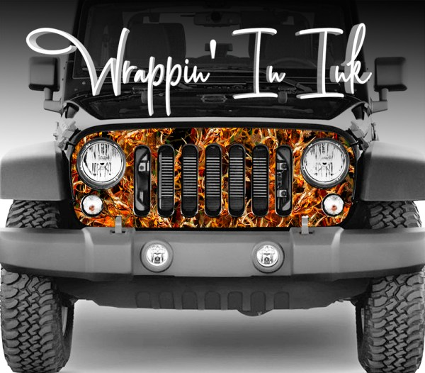 Jeep Grill Wrap Obliteration Flame Camouflage for the Jeep Wrangler