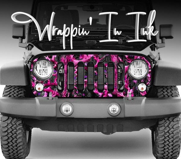 Jeep Grill Wrap Pink Black Camo