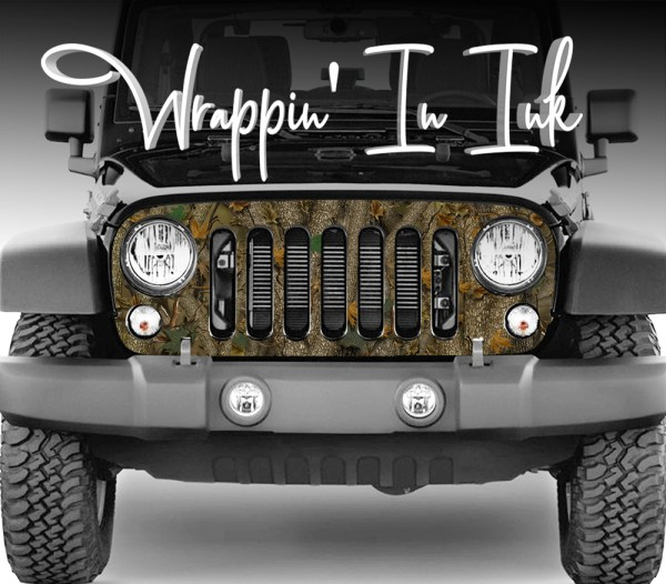 Jeep Wrangler Grill Wrap in Forest Camo Design