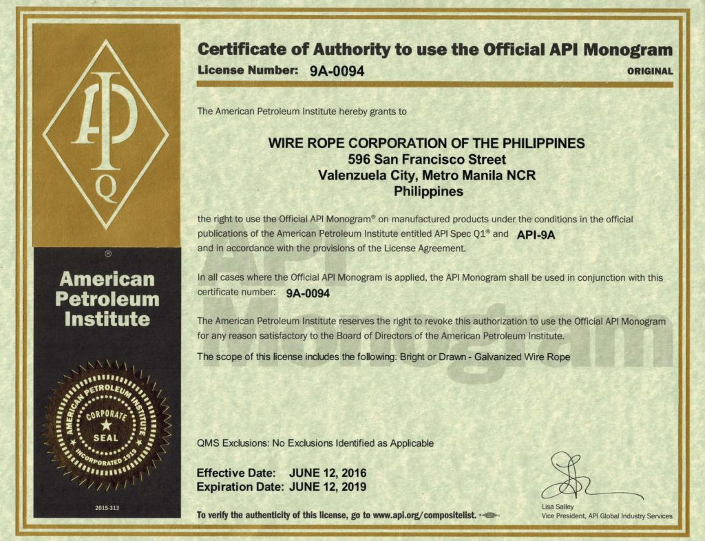 api certification certificate wrcp rope wire philippines corporation