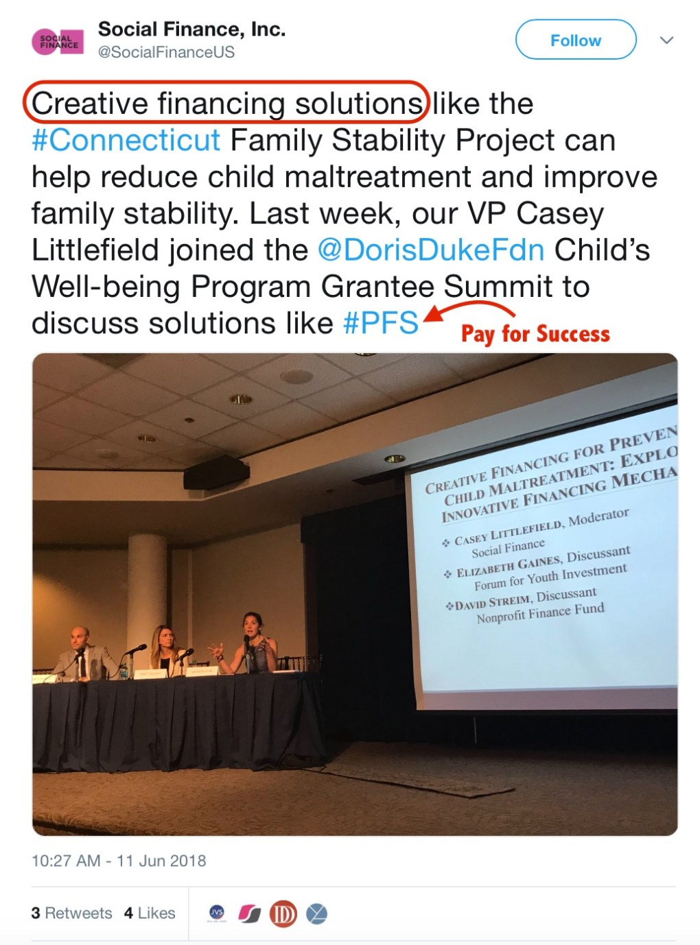 Connecticut Family Stability Project Social Finace Tweet
