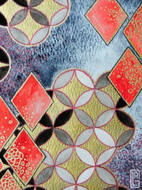 Watercolor; black, gold, and red metallic gel pen