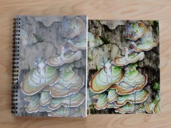 """""""Foraging"""" notebook vs. photo print. You can see how much duller the notebook looks."""