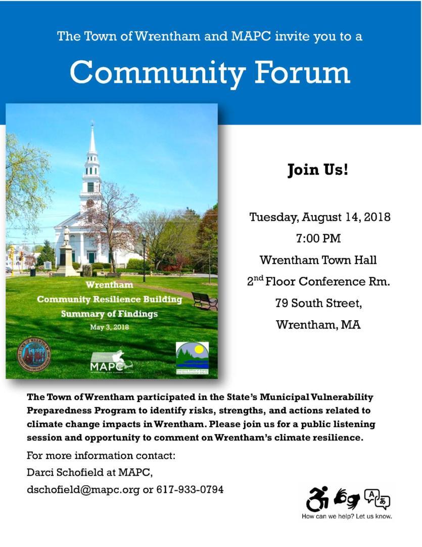 Aug 14 Community Forum Wrentham