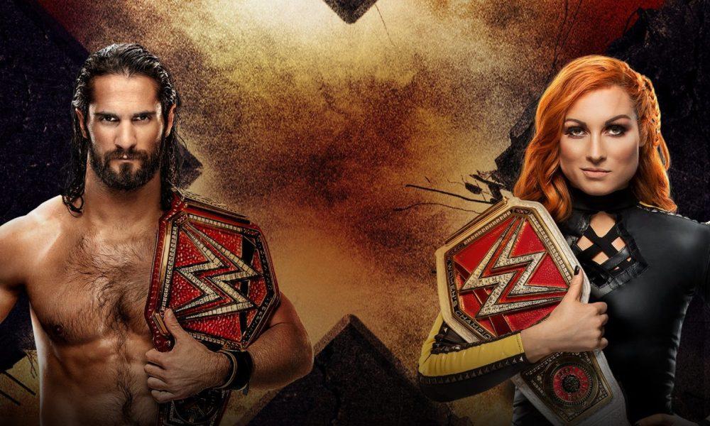 Becky Lynch e Seth Rollins segurando os cinturões Universal e RAW Women's Championship promovendo o PPV Extreme Rules 2019