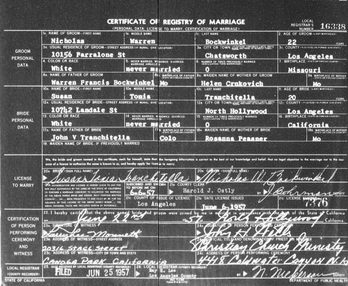 Nick Bockwinkel Marriage Certificate from 1957 | Wrestling Ancestry