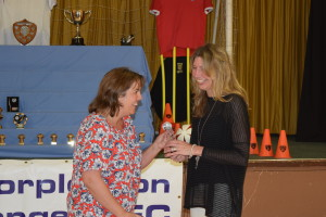Trophy Day 2015: Clare Jones Presents the Club Secretary's Award to Sally Horton, Team Rep for U16 Hurricanes
