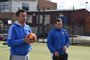 WRFC Coach Steve Franklin Introduces the Players to Ryan Dent, Woking Academy Coach