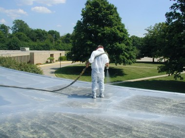 Spraying Polyurea over old Rubber Roof.