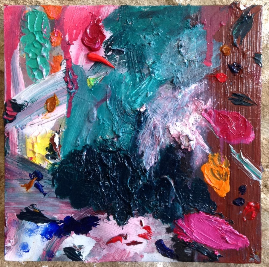 Mutants - Valerie Brennan - oil and spray paint on Masonite panel - 25 x 25 x 4 cm - 2015