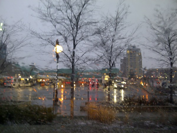 Kitchener bus station in December rain