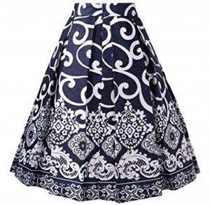 Pleated Midi Skirt | printed back
