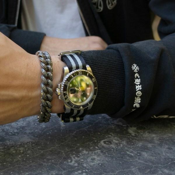 Black-and-gray-strap-wrist-hardware-watch-strap