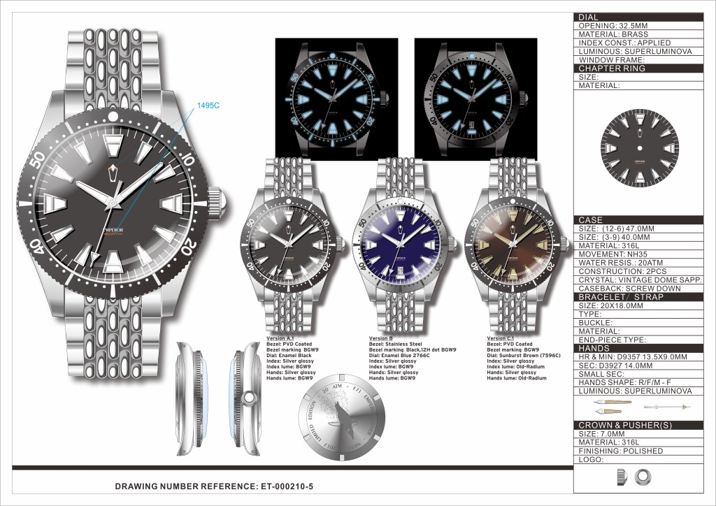 The three variants of the Emperor Diver together with its technical specifications
