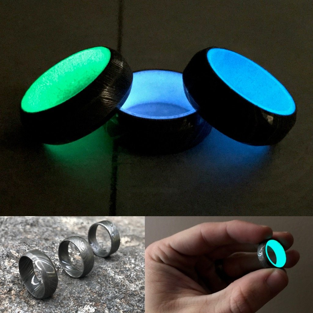 green glow matte band products lume carbon fiber ring resized rings