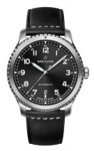 Navitimer 8 Automatic with black dial and black leather strap. (PPR/Breitling)