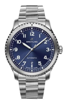 Navitimer 8 Automatic with blue dial and stainless steel bracelet. (PPR/Breitling)
