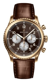 Navitimer 8 B01 in 18 k red gold with bronze dial and brown alligator leather strap. (PPR/Breitling)