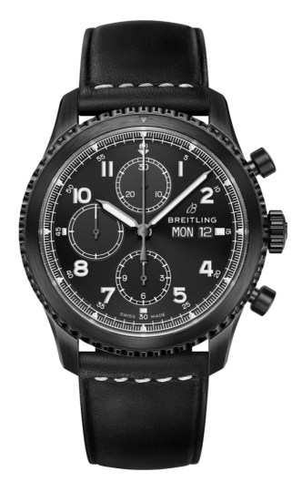 Navitimer 8 Chronograph Blacksteel with black dial and black leather strap. (PPR/Breitling)