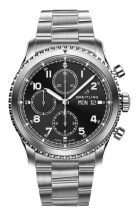 Navitimer 8 Chronograph with black dial and stainless steel bracelet. (PPR/Breitling)