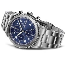 Navitimer 8 Chronograph with blue dial and stainless steel bracelet. (PPR/Breitling)