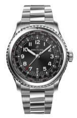 Navitimer 8 Unitime with black dial and stainless steel bracelet. (PPR/Breitling)