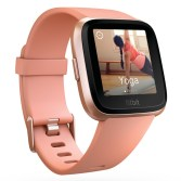 Product render of Fitbit Versa in 3 quarter view in peach and rose gold with yoga on screen
