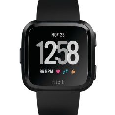 Product render of Fitbit Versa front view in classic black