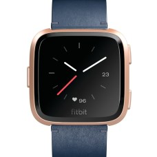 Product render of Fitbit Versa in front view in midnight blue Horween leather showing analog clock