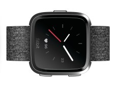 Product render of Fitbit Versa front view in special edition charcoal and graphite aluminum body