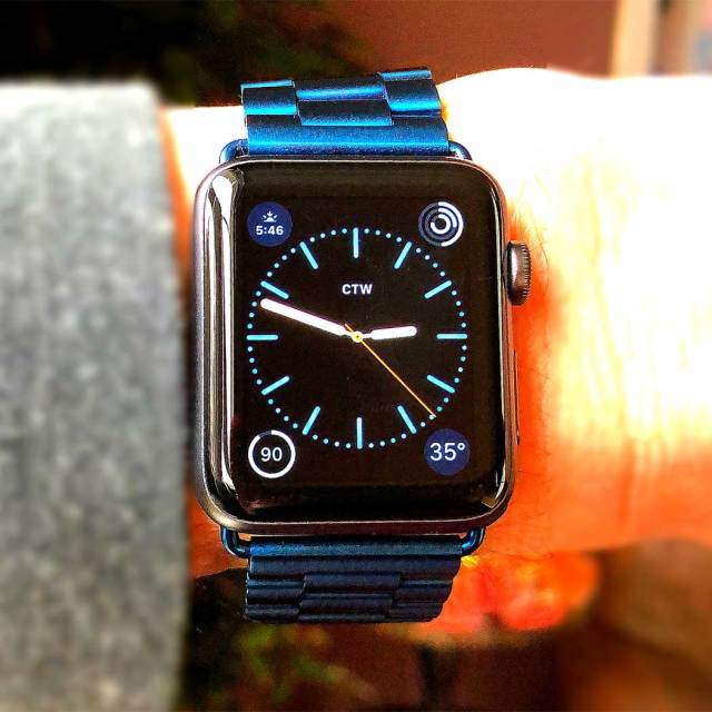 Apple Watch with blue bracelet