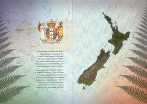 Image, page of a New Zealand passport.