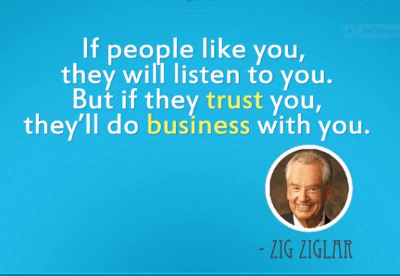 Image, Zig Ziglar quote about honesty in business.