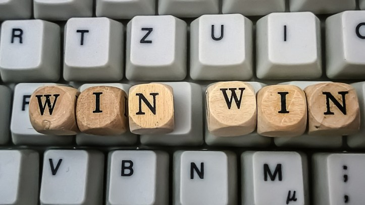 Image, Keyboard and words spelling 'win win'.