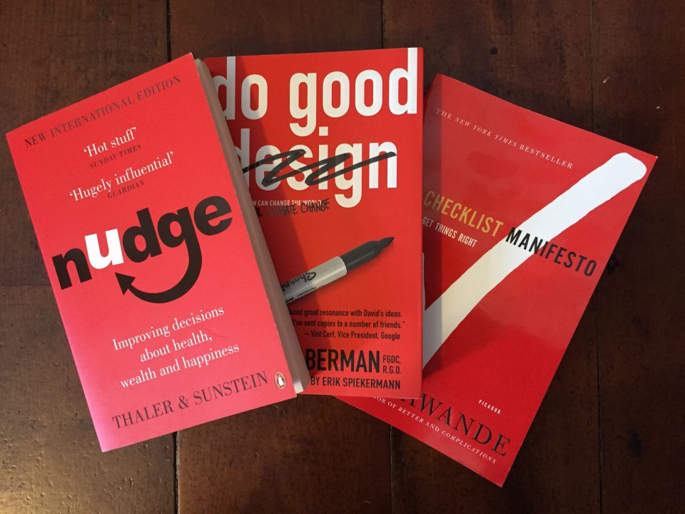 Image, The three little red books from our office bookshelf.
