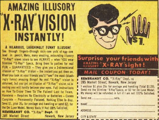 Image, Old advert for x-ray glasses.