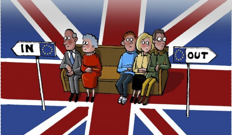 Image, Cartoon showing British people deciding whether to leave or stay in the EU.