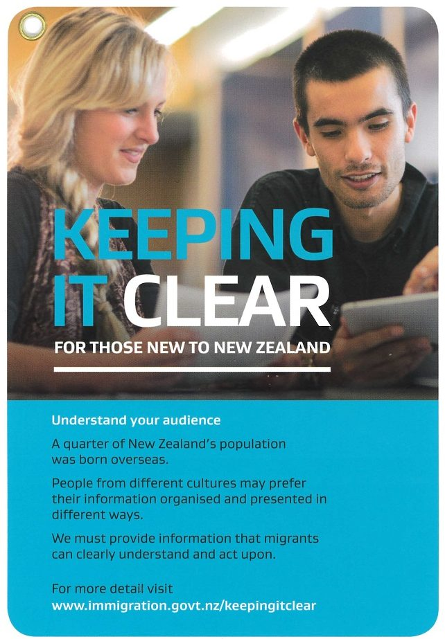Image, Cover of Keeping it Clear, writing guidance from Immigration New Zealand.