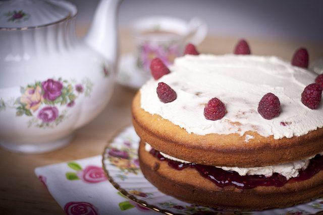 Image, Teapot, tea cup, and Victoria sponge cake.