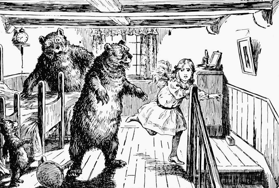 Image, Line drawing of Goldilocks and the three bears.