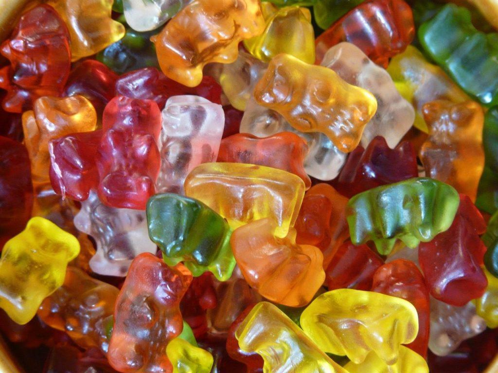 Multi-coloured gummy bear sweets.