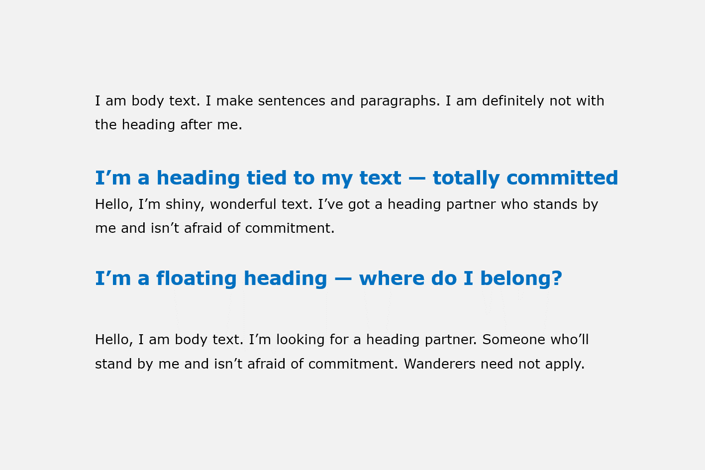 Heading Examples Tied Floating Write