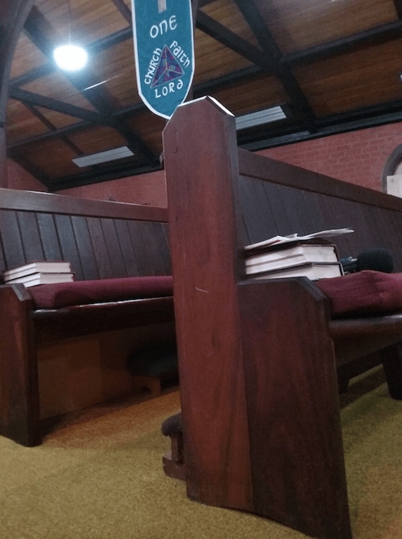 Image, wooden church pew