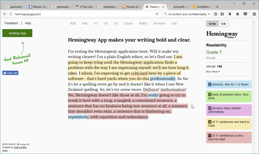 Screen shot of grammar analysis using the Hemingway app