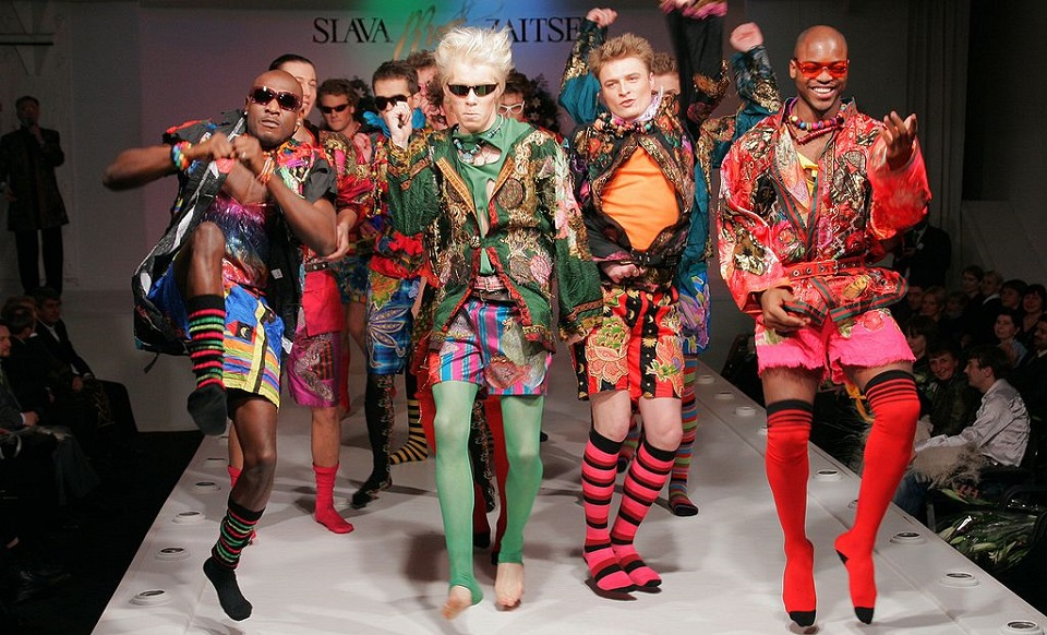 Image, Models wearing zany fashions on a catwalk.