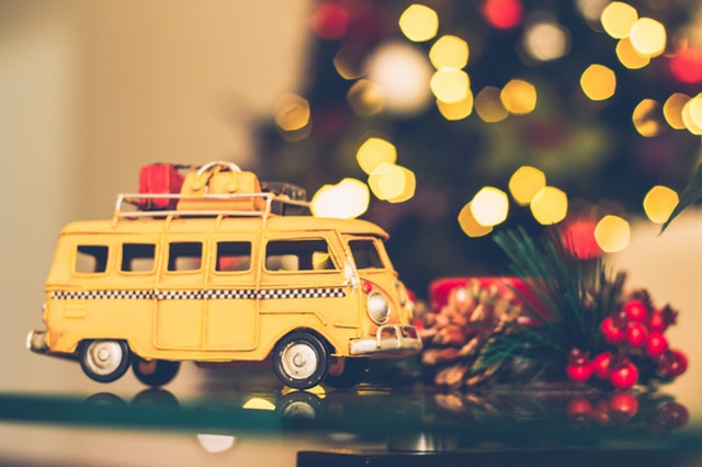 Image, Yellow combi van with Christmas decorations.