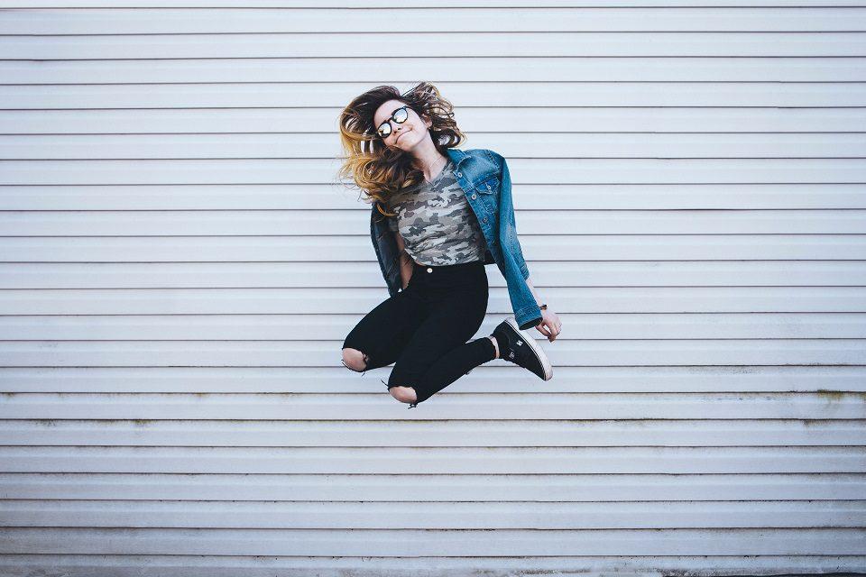 Image, Girl jumping for joy.