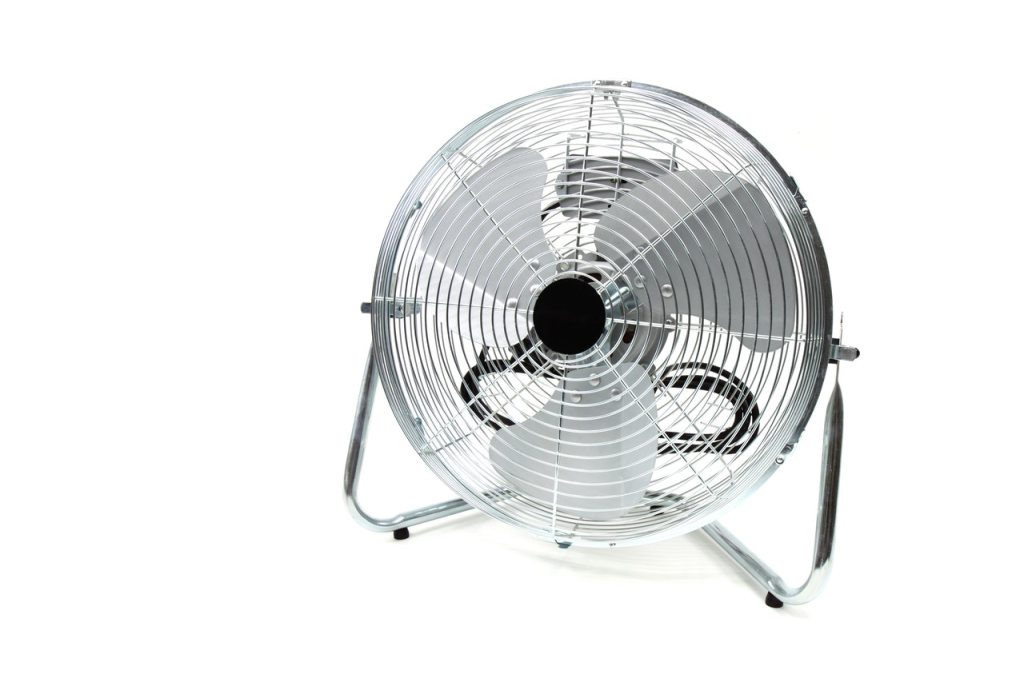 Photo of a chrome electric table fan.