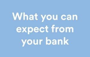 The cover of What you can expect from your bank, The Code of Banking Practice - pale blue with white and dark blue text and the New Zealand Bankers' Association's blue and white logo.